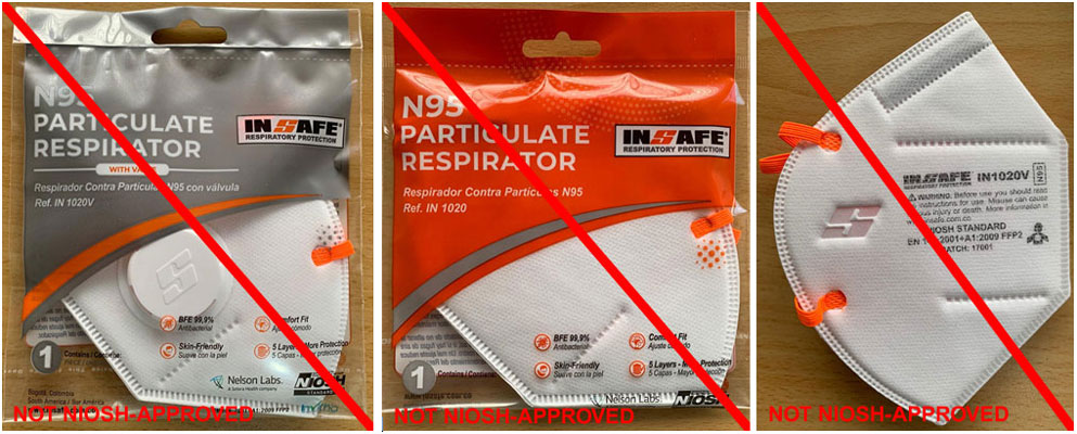 This is an example of a misrepresentation of a NIOSH approval. INSAFE is not a NIOSH approval holder or a private label holder. (8/25/20)