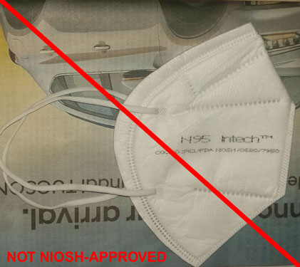 This is an example of a misrepresentation of a NIOSH approval. Intech Safety Pvt. Ltd. is not a NIOSH approval holder or a private label holder. (8/7/2020)