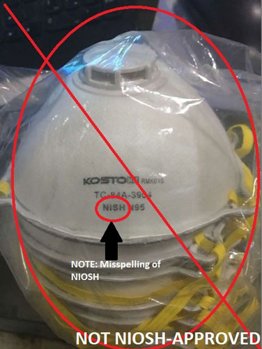 an example of a counterfeit N95 Respirator