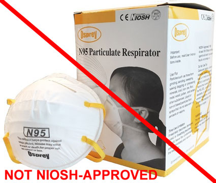 This is an example of a misrepresentation of a NIOSH approval. Osprey is not a NIOSH approval holder or a private label assignee. The Osprey N95 particulate respirator is not NIOSH approved.