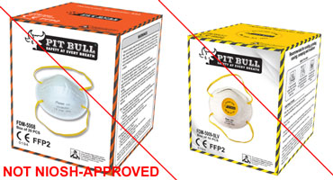 Example of misrepresentation of the NIOSH-approval. PitBull Safety Products is not a NIOSH approval holder