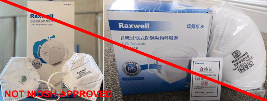 Raxwell model RX9501P N95 is being misrepresented as a NIOSH-approved product.