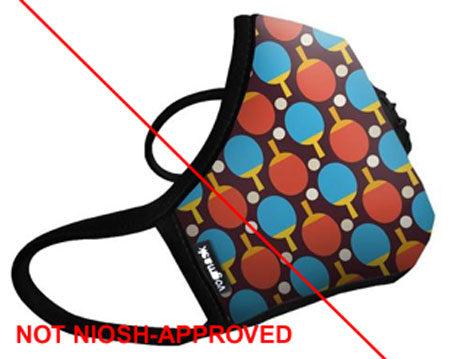 Example of misrepresentation of the NIOSH-approval.  Vogmask® is not a NIOSH approval holder.
