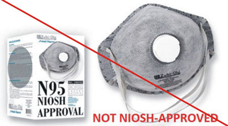 Not NIOSH approved - Zubi-Ola respirator, with value