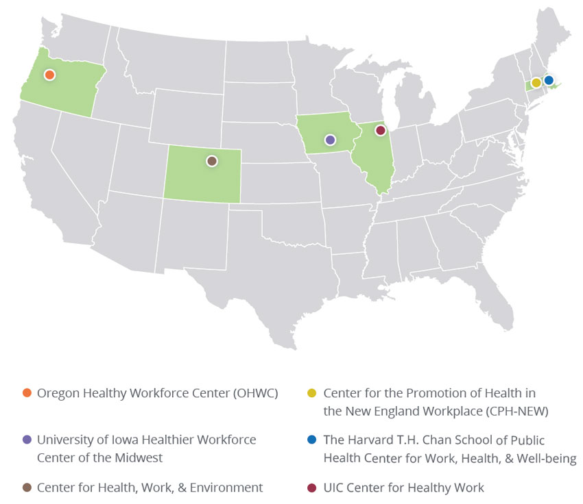 Map - Centers of Excellence for Total Worker Health®, 2017
