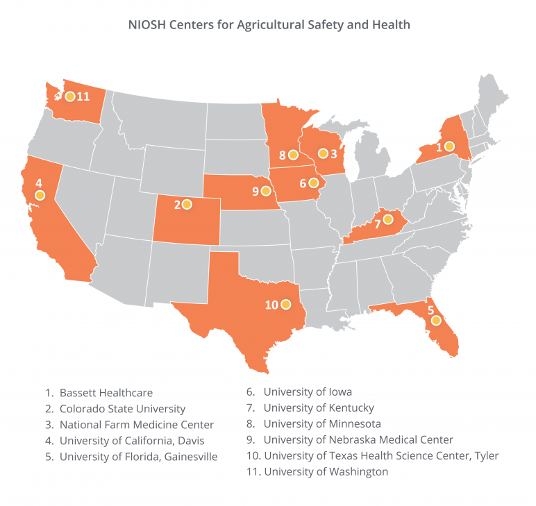 USA Map of Centers for Agricultural Safety and Health