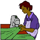 Illustration of a woman operating a sewing machine