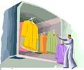 Illustration of an oversized wardrobe