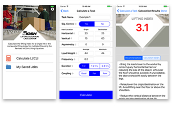 Niosh Mobile Lifting App NLE Calc display screens