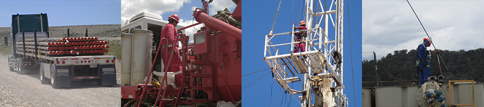 Banner image shows various job tasks within the Oil & Gas extraction field including, trucking, sand fracking, oil derrick work and manual tank gauging. Images taken by NIOSH.