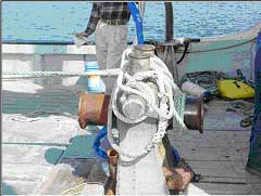 A capstan-type winch with fishing lines wound around