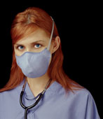 Healthcare worker wearing an N95 respirator. Photo courtesy of Moldex.