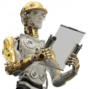 a humanoid robot, wearing a hard hat and holding construction plans.