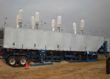 NIOSH mini-baghouse assemblies installed on eight thief hatches atop a sand mover during filling operations.