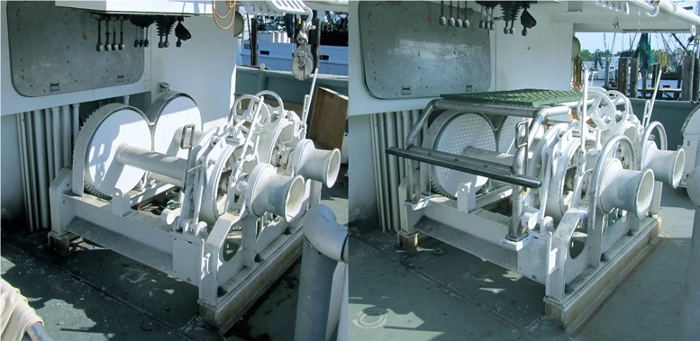 An unprotected winch, left, and the same winch outfitted with a stationery guard, right, to prevent entanglement. Photo from NIOSH.