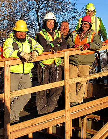 Construction workers on the Fort Hall Indian Reservation. Photo by NIOSH