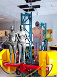 A 3-dimensional full-body laser scanner is being used for human body dimension measurement.