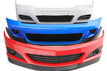 plastic front bumpers of a car