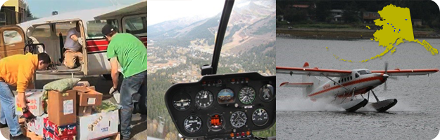 Scenes showing common uses of aviation in Alaska – workers load a Cessna 207, view from a Robinson R44 helicopter and a De Havilland DHC-3 landing in Juneau, Alaska.