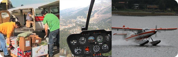 Scenes showing common uses of aviation in Alaska; workers load a Cessna 207, view from a Robinson R44 helicopter and a De Havilland DHC-3 landing in Juneau.