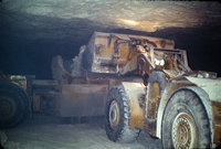 Diesel loader in a mine