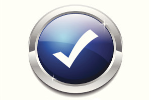 Image of a button with a checkmark on it