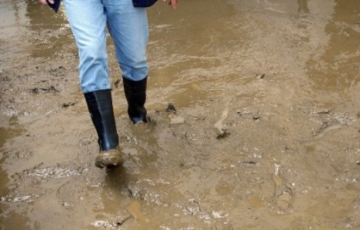 Person walking thru very muddy water