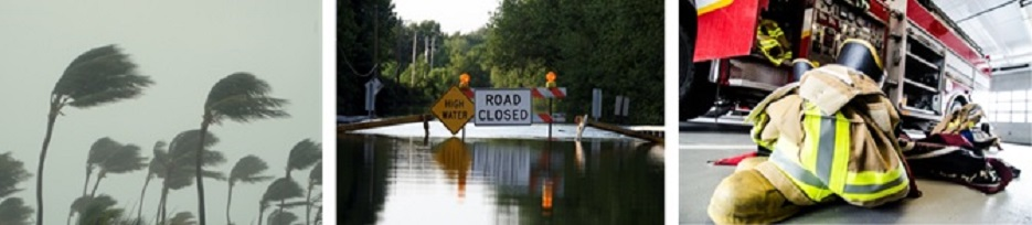 hurricane swaying palm trees, flooding with road closed sign, firefighter equipment