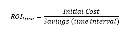 ROI sub time equals initial cost over savings (time interval)