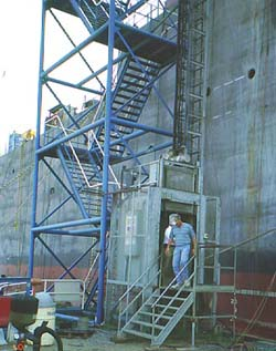 Stairs placed alongside ship