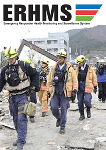 emergency responders wearing protective equipment walking past building rubble