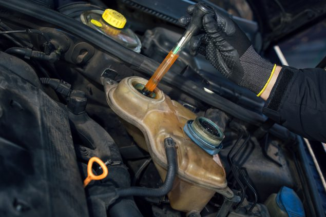 Mechanic testing anti-freeze levels in car engine.