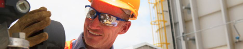 construction worker wearing eye protection