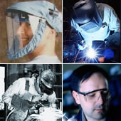 workers wearing a face shield, a welding helmet, a pair of shaded goggles, and safety glasses