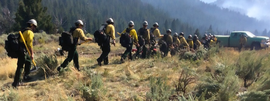 Wildland Firefighter Hotshot Crew moves toward water resupply point before resuming duties. Image provided by is US Forest Service Technology and Development Program.