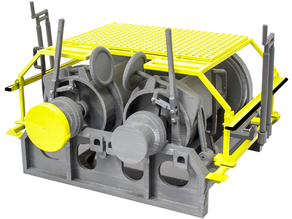 3D printed model of a McElroy 505 winch with guarding and cat-head spin-cap guard (yellow)
