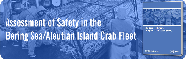 Image of crab fishermen pulling pot of Opilio crab onboard vessel with image of report cover.
