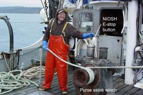 NIOSH prototype E-Stop being tested on the Purse seiner F/V Lake Bay