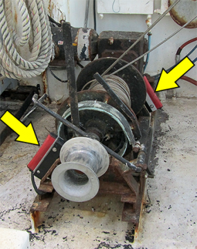 Auxiliary Stop switches installed on a try-net winch.