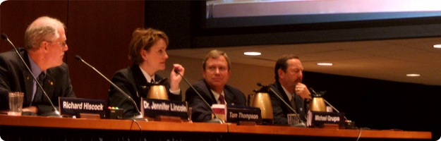 A photo of a panel of experts giving testimony to the NTSB during the Commercial Fishing Safety Forum in 2010.