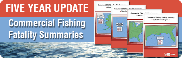 A graphic showing cover artwork of the Commercial Fishing Fatalities Regional Summaries.