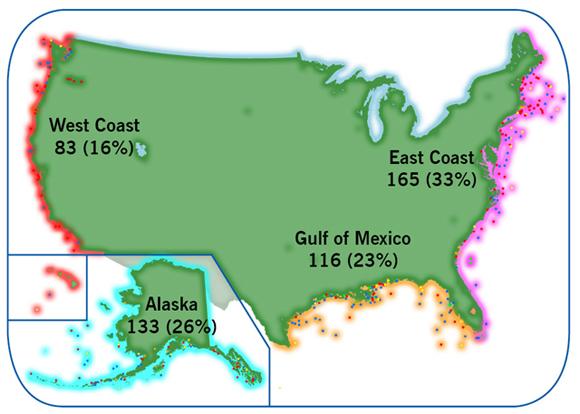 CDC Commercial Fishing Safety Regional Analysis NIOSH - Salmon fishing map us
