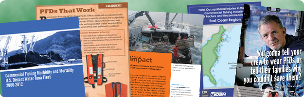 A collage featuring cover images from a variety of NIOSH commercial fishing safety publications.