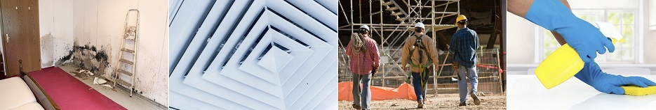 Banner image: mold, vent, construction workers, hands cleaning a counter top