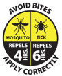Avoid Bite logo; Avoid Bites, Apply correctly. Mosquito repels: 4 hours. Tick repels: 6 hours.