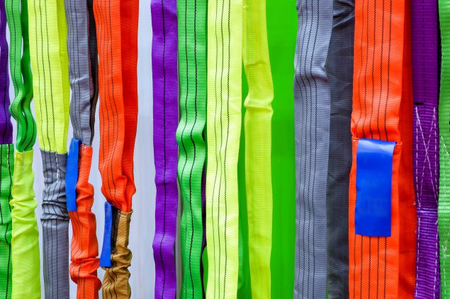 Image of manufactured multi-coloured nylon straps.