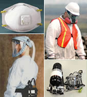 Workers with respiratory protection