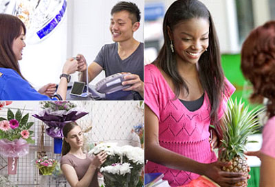 Three picture grouping: A young man, who is a cashier, returns a customer's credit card at the checkout counter of a jewelry store. Female florist. Two young women stand at a cosmetology store checkout register.