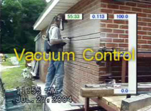 Worker tuckpointing with local exhaust ventilation controls