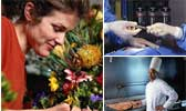 woman smelling flowers, latex gloves, chef cooking over hot grill